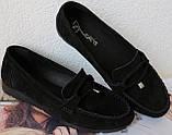 Nona! Супер! Мягкие женские мокасины черного цвета замшевые туфли весна лето Нона, фото 3