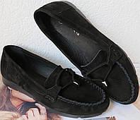 Nona! Супер! Мягкие женские мокасины черного цвета замшевые туфли весна лето Нона, фото 1