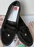 Nona! Супер! Мягкие женские мокасины черного цвета замшевые туфли весна лето Нона, фото 2