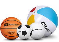 4 мяча: Баскетбольный, Футбольный, Волейбольный мяч и Надувной