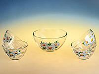 Набор стеклянных салатниц (1+4) «Сидней» рисунок цветы  в ассортименте.