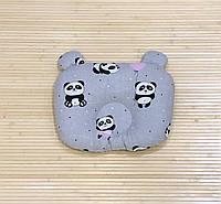 """Ортопедическая подушка для новорожденного """"Панды на сером фоне"""""""