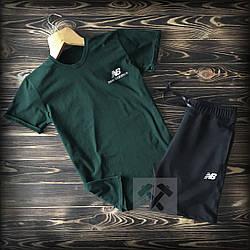 Мужской комплект футболка + шорты New Balance зеленого и черного цвета (люкс копия)