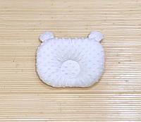 """Ортопедическая подушка для новорожденного """"Белый плюш + пудра"""""""