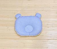 """Ортопедическая подушка для новорожденного """"Белый плюш + синие точки на голубом"""""""