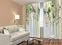 """ФотоШторы """"3D Ламбрекены из орхидей и цветов 1"""" 2,5м*2,6м (2 полотна по 1,30м), тесьма, фото 1"""