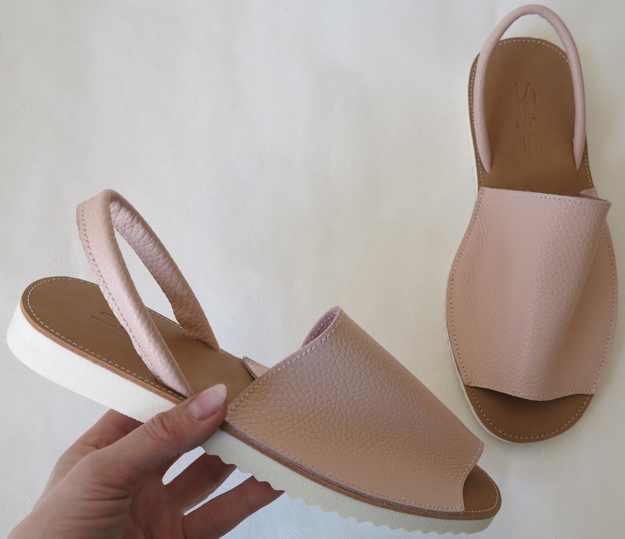 Стиляшки! Женские кожаные сандалии испанка! Летние босоножки менорки цвет пудра