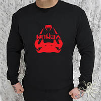 Мужской спортивный черный свитшот, кофта, лонгслив, реглан Venum (красный лого), Реплика