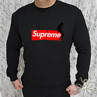 Мужской спортивный черный свитшот, кофта, лонгслив, реглан Supreme, Реплика
