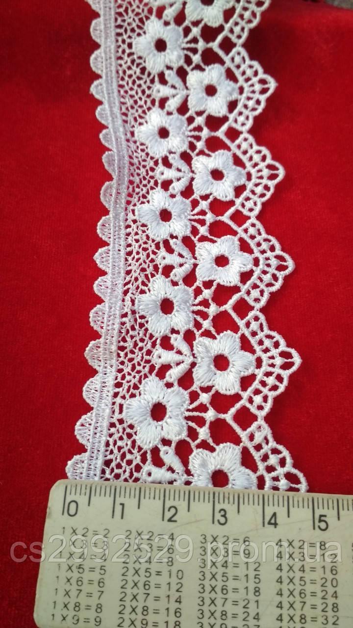 Кружево цветы+зубчики 9 метров. Кружево макраме цветы белые