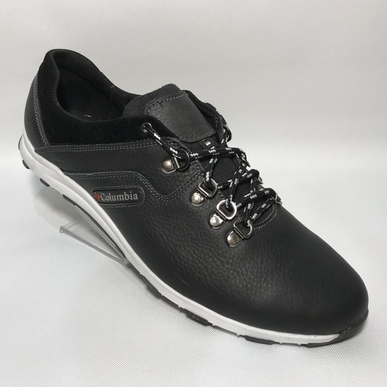 Мужские кожаные кроссовки Colombia / черные / р.46-50 большого размера
