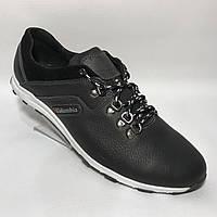 Мужские кожаные кроссовки Colombia / черные / р.46-50 большого размера, фото 1