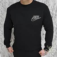 Мужской спортивный черный свитшот, кофта, лонгслив, реглан Nike контур, Реплика