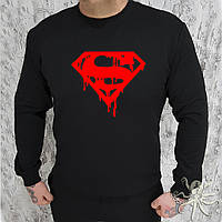 Мужской спортивный черный свитшот, кофта, лонгслив, реглан Superman, супермен, Реплика