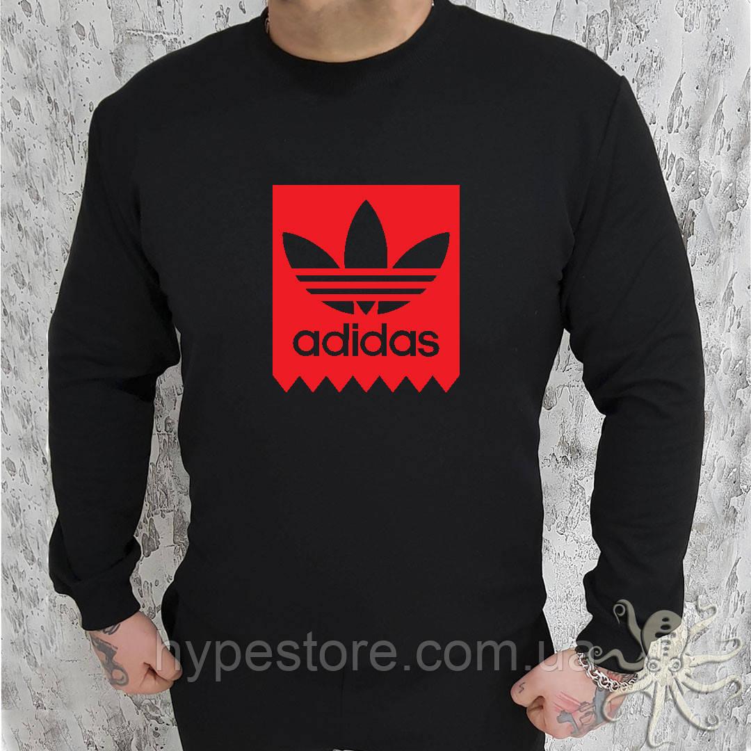 Мужской спортивный черный свитшот, кофта, лонгслив, реглан Adidas (красный лого), Реплика
