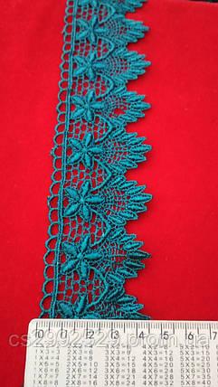 Кружево зубчики цветы 20 м. Кружево макраме зелёный, фото 2