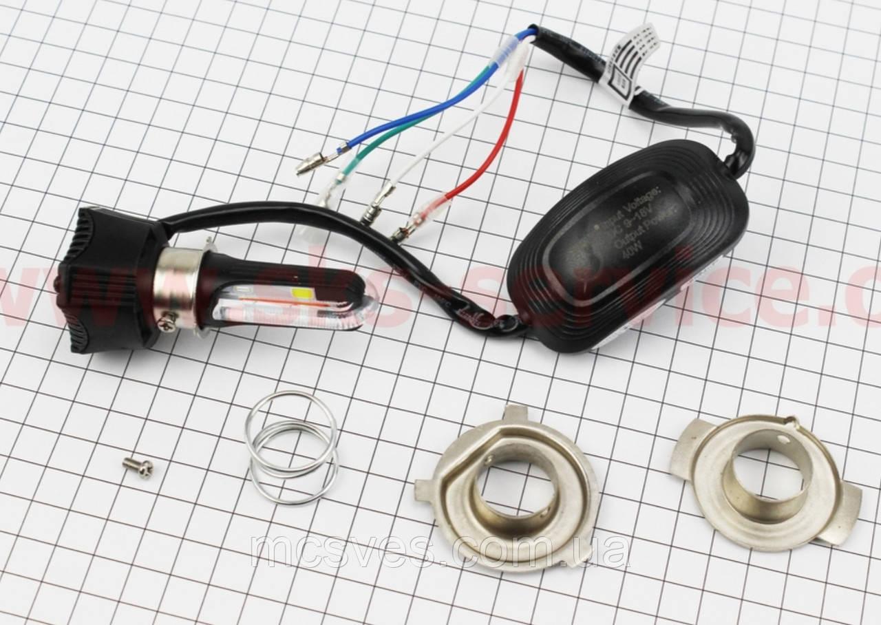 Лампа фары диодная LED-4 SUPER универсальная (к-кт разных креплений), красная подсветка, с стабилизатором