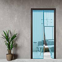 Антимоскитная сетка, шторка на дверь на магнитах 210*100 Premium Голубой
