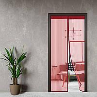 Антимоскитная сетка, шторка на дверь на магнитах 210*100 Premium Бордовый