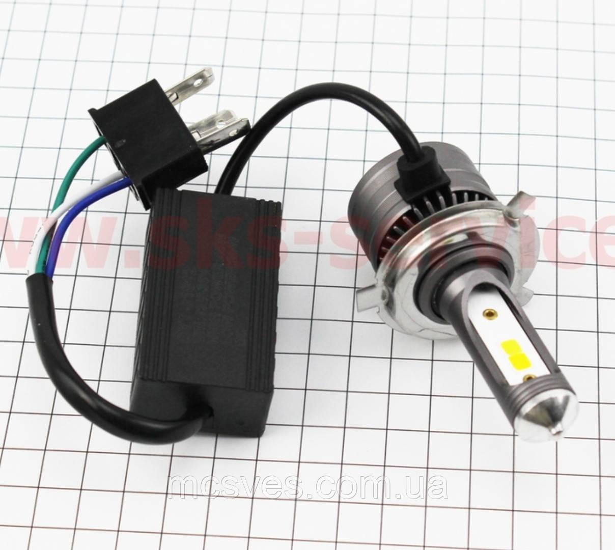 Лампа фары диодная H4 - LED-2 c интеркулером (ближний свет желтый, дальний белый), SUPER LIGHT