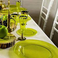 Тарелки стекловидные небьющиеся цветные CFP для яхт, катеров,пляжей,летних банкетов, дач, пасхи 6шт/уп 190мм