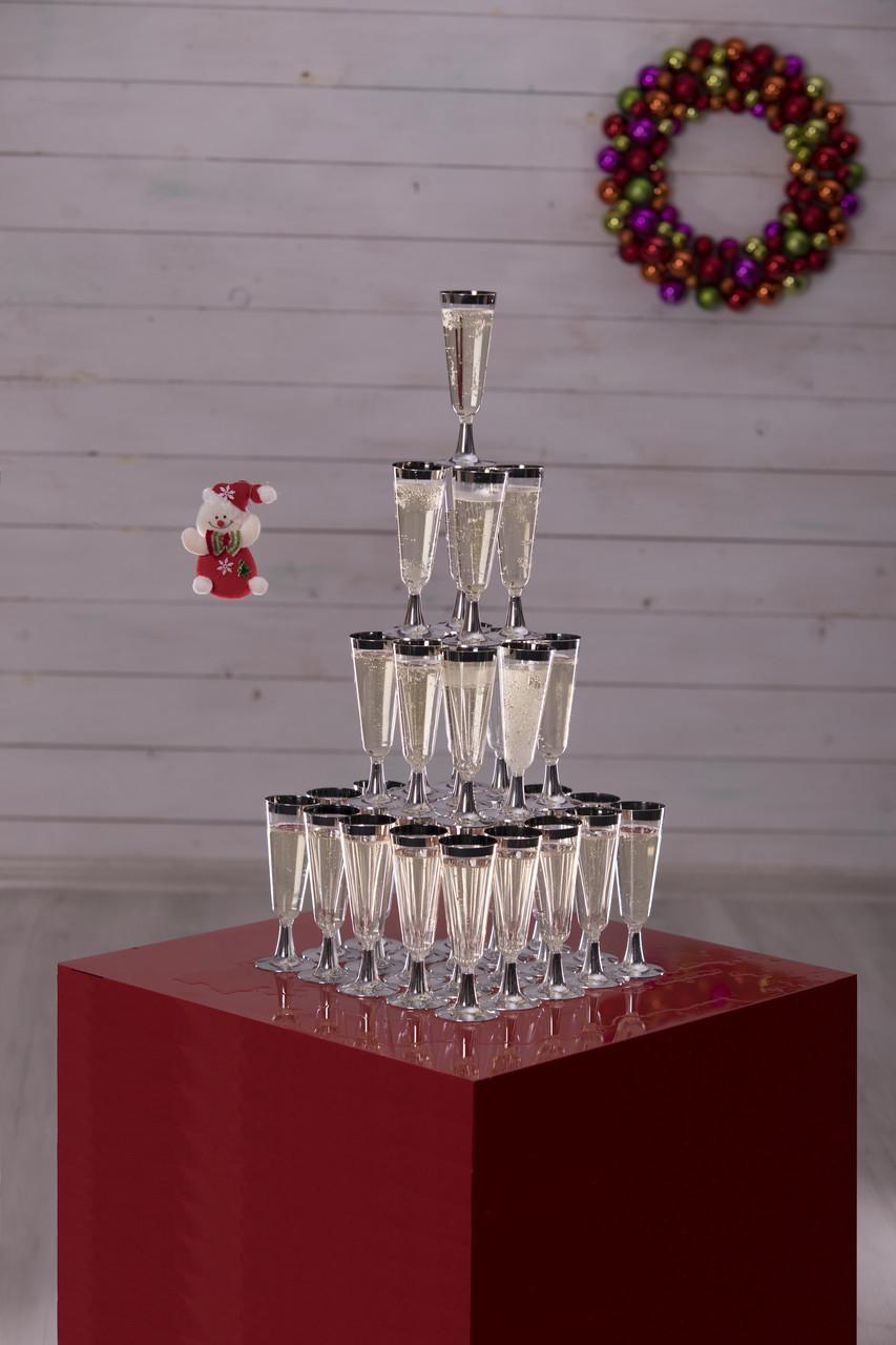 Бокалы Capital For People пластиковые многоразовые шампанское для яхт. Полная сервировка стола 6 шт 130 мл