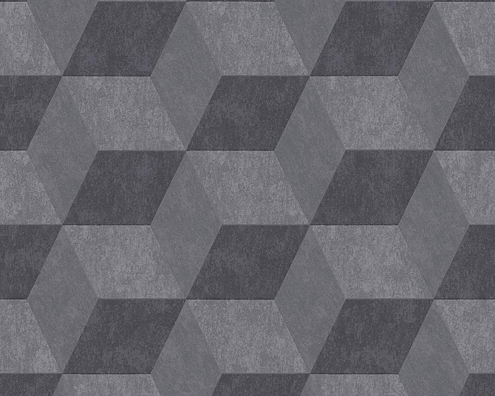 Стереоскопічні креативні дизайнерські шпалери Metropolis 303983, сірі графіт, з 3д візерунком об'ємних кубиків