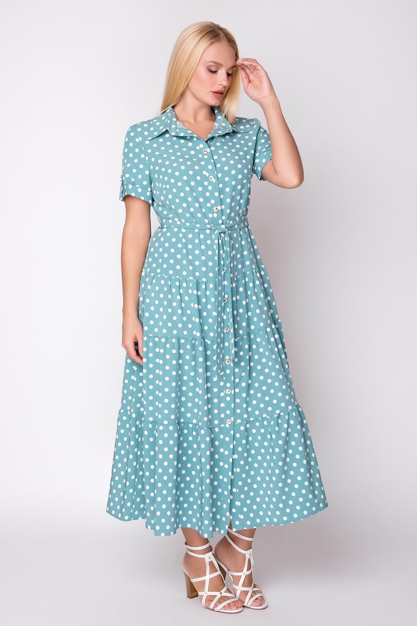 Платье Молли 48-56 мята горох