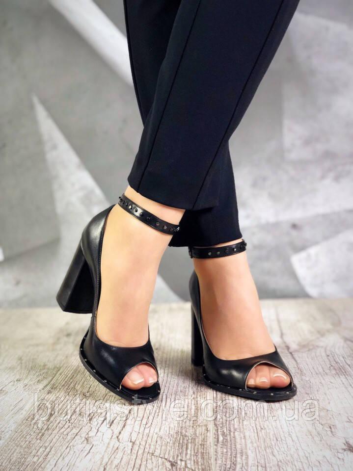 37, 38 размер Женские черные босоножки на высоком каблуке натуральная кожа