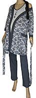 Халат и пижама с брюками для беременных и кормящих темно-синего цвета 42-56 р