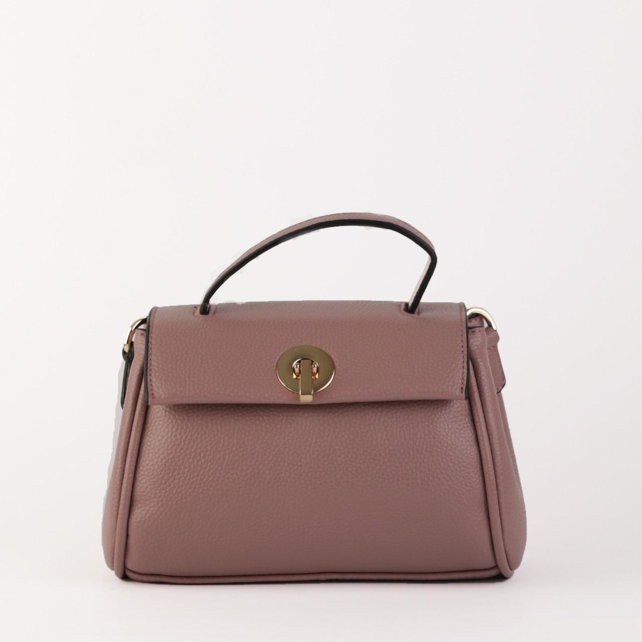 Женская маленькая сумочка из натуральной кожи фиолетовая