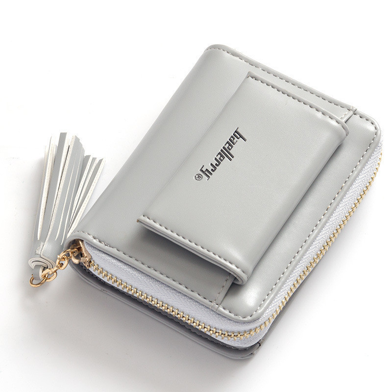 Жіночий гаманець з пензликом маленький сірого кольору