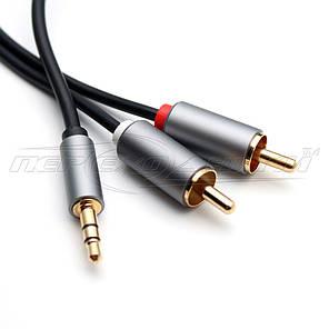 Аудио кабель jack 3.5 mm to 2RCA (высокое качество) New Design, 1 м, фото 2