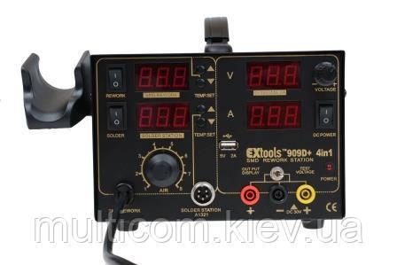 13-00-092. Паяльна станція 909D+, з 4 дисплеями, паяльник + фен + блок живлення + гніздо USB, HandsKit