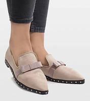 Женские стильные балетки-туфли с отстрым носком