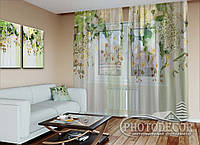 """ФотоТюль """"3D Ламбрекены из орхидей и цветов 1"""" (2,5м*7,5м, на длину карниза 5,0м)"""