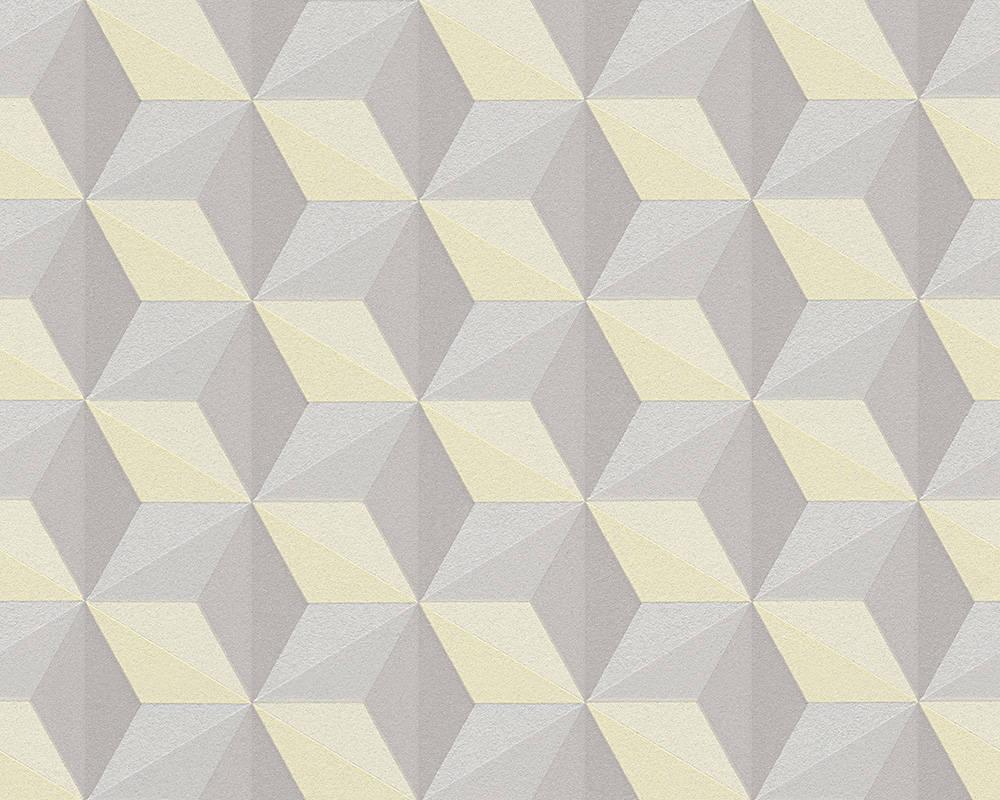 Стереоскопические дизайнерские 3д обои 962553 креативная геометрия в виде объемных кубиков серо бежевые