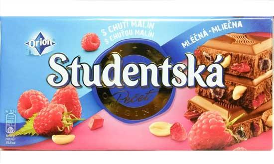 Шоколад молочний Studentska малина з арахісом 180 м х 12 шт в упаковці