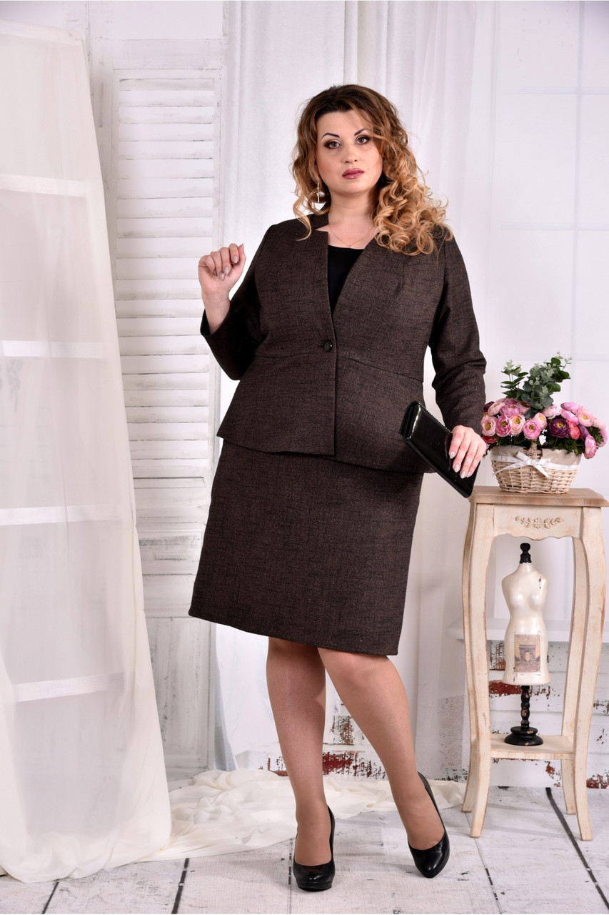 Коричневый деловой костюм с юбкой  Жакет + юбка большого размера 0578-2