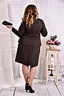 Коричневый деловой костюм с юбкой  Жакет + юбка большого размера 0578-2, фото 4