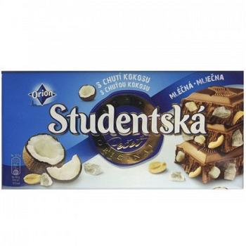 Шоколад молочный Studentska кокос с арахисом 180 г х 12 шт в упаковке