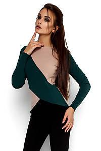 (S, M, L, XL) Комбінована зелено-бежева жіноча кофта Sola