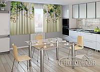 """ФотоШторы для кухни """"3D Ламбрекены из орхидей и цветов"""" 2,0м*2,9м (2 половинки по 1,45м), тесьма"""