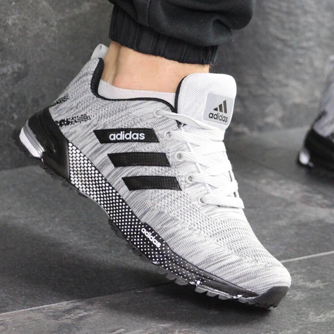 21b95b46 Мужские кроссовки Adidas Marathon 7665 серые Лучшие новинки 2019 года!