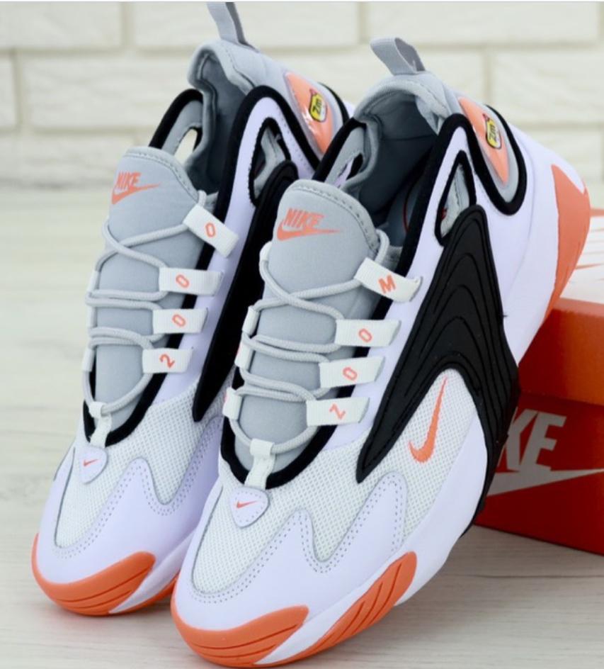 Мужские Кроссовки Nike Zoom 2K, Найк Зум белые с оранжевым