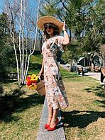 Нежное яркое платье - карамельное