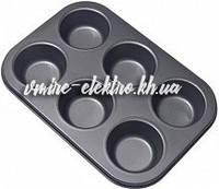 Тефлоновая форма для выпечки кексов, маффинов 6 шт (Гладкая)