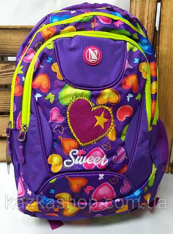 Школьный прочный рюкзак для девочек из плотного непромокаемого материала, на 3 отдела, фото 2