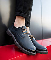 Туфли мужские весенние кожаные классические стильные на шнуровке в коричневом цвете, фото 1