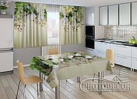 """Фото комплект для кухни """"3D Ламбрекены из орхидей и цветов"""" (шторы 2,0м*2,9м; скатерть 1,45м*1,7м)"""